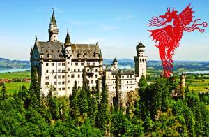 Dragon emblem and fairy tale castle