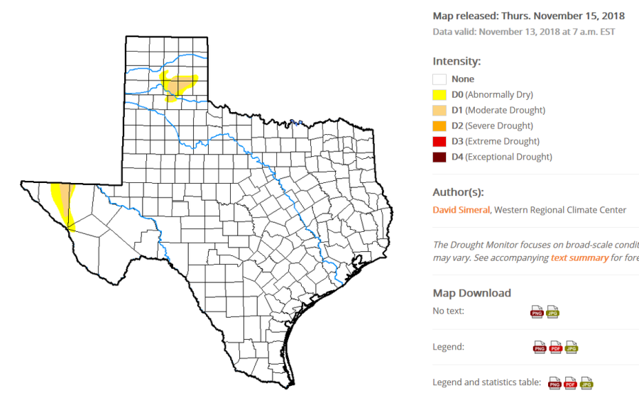 Deserts & Droughts: Texas drought map