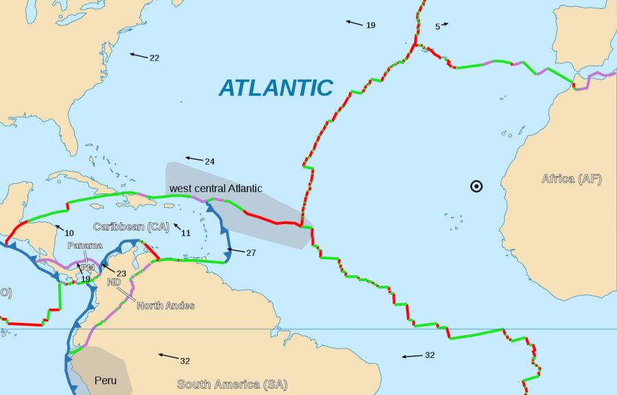 Map of N. Atlantic tectonic boundaries & AF-EU Euler pole