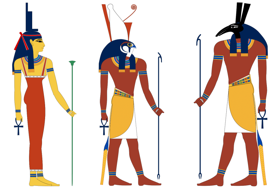 Graphic representations of 3 Egyptian gods (Asett, Heru & Sett)