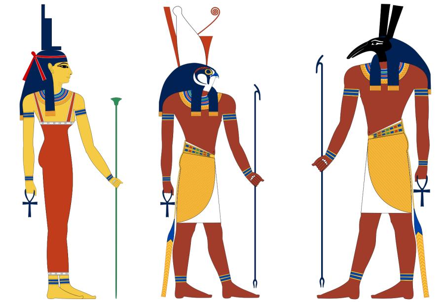 Graphic representations of 3 Egyptian gods (Asett, Heru & Sett)