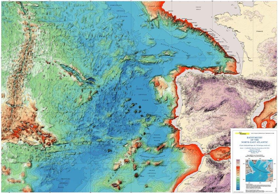 Bathyspheric map of NE Atlantic