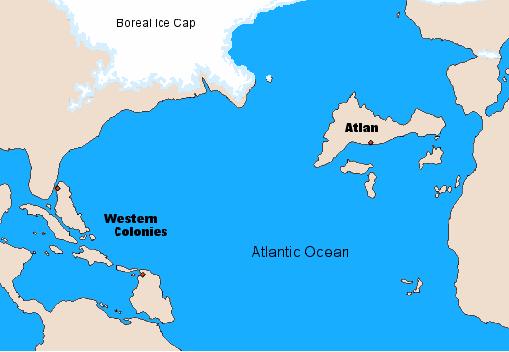 Mission: Atlantis picture. Artist's impression of Atlantis and the North Atlantic 9620 BC.
