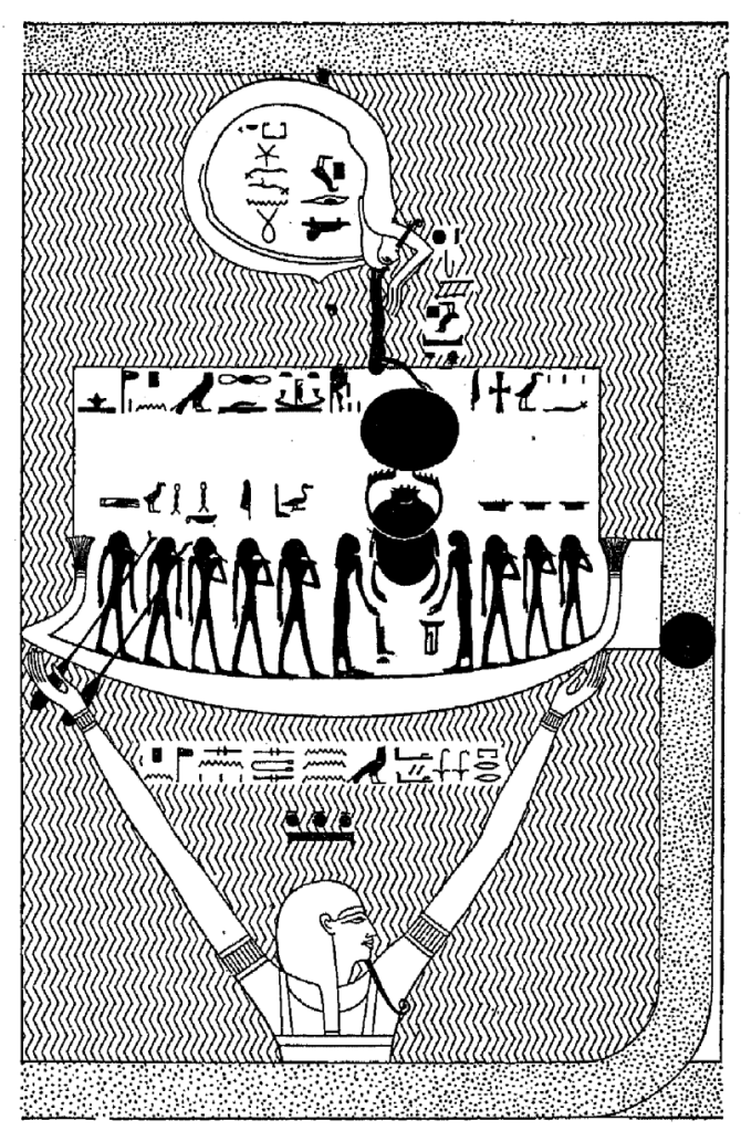 Mission: Atlantis picture. Ancient Egyptian picture of god Nu carrying Solar Boat above flood waters.