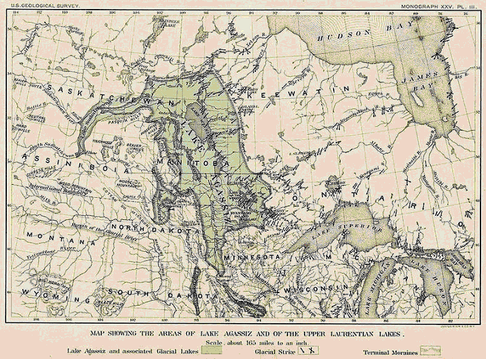 Mission: Atlantis picture. Map of Ice Age glacial period Lake Agassiz, Canada (19th century).