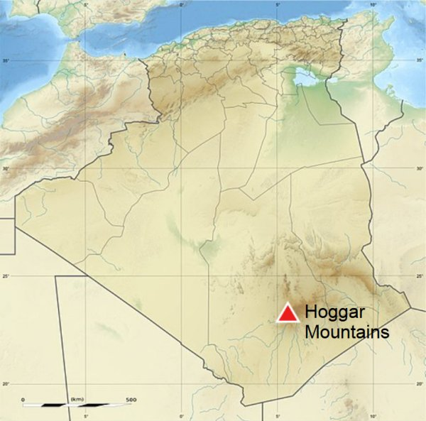 Mission: Atlantis picture. Map of Algeria, North Africa with location of Hoggar Mountains.
