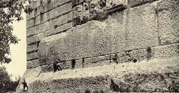 Mission: Atlantis picture. One of Baalbek, Lebanon Trilithon megalithic stones. Man standing nearby for comparison.