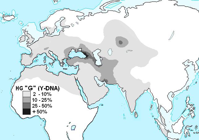 Mission: Atlantis picture. Map of Old World distribution of Y-DNA haplogroup G.