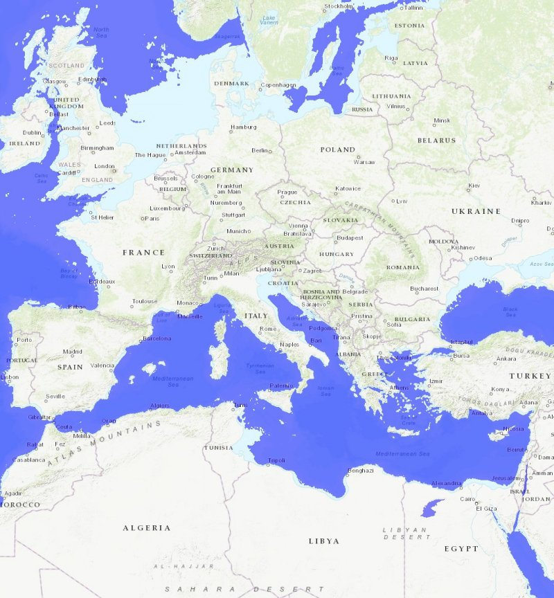 Mission: Atlantis picture. Map of Europe and North Africa, showing sea levels from about 9620 BC.