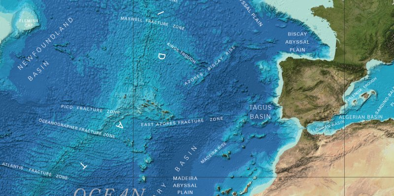 Mission: Atlantis picture. Bathymetric map of NE Atlantic Ocean and the region given by Plato for Atlantis.
