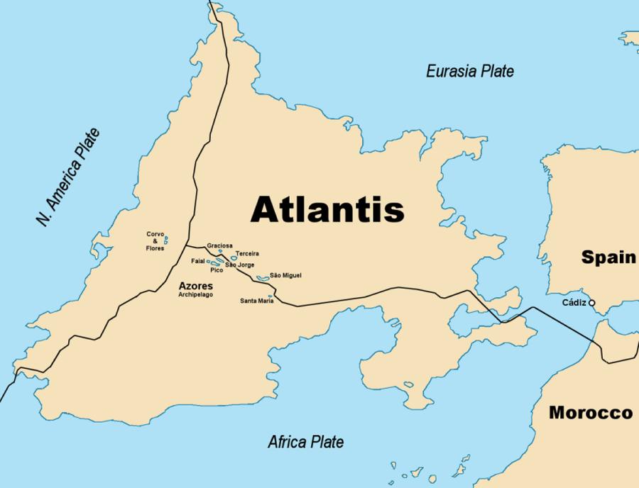 Mission: Atlantis picture. Map of Atlantis based on nominal size estimate.