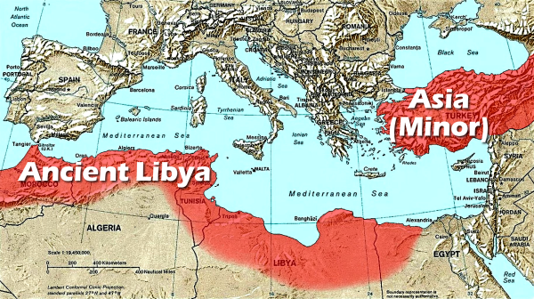 Atlantis: Evidence -- Map showing size of Atlantis with North Africa (Ancient Libya) and Asia Minor