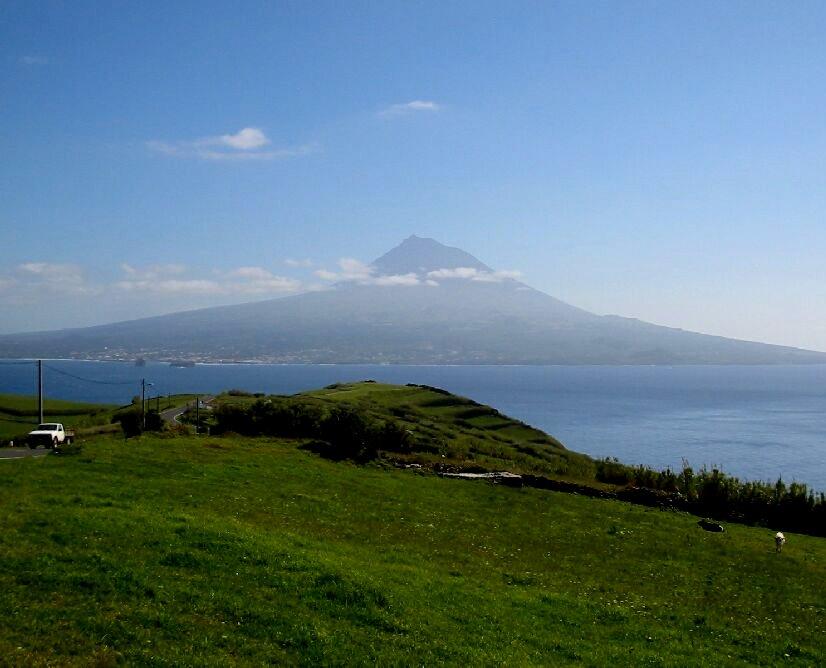 Atlantis: Evidence -- Pico Island and volcano as seen from Faial Island, Azores.